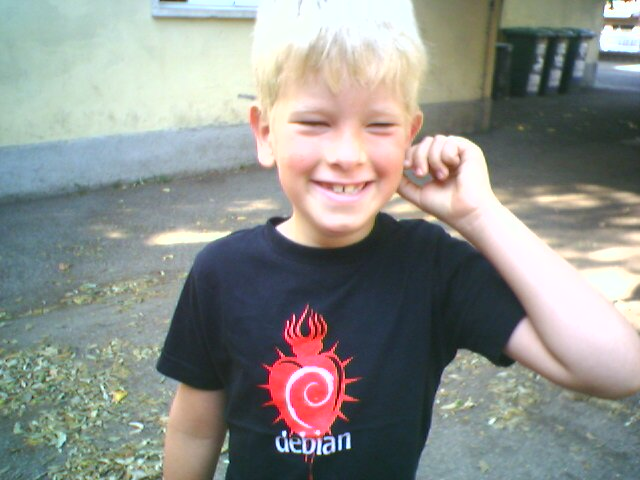 Josh in his Debian T-Shirt